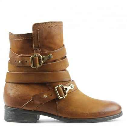 Daniel Meghan Tan Leather Double Buckle Ankle Boot