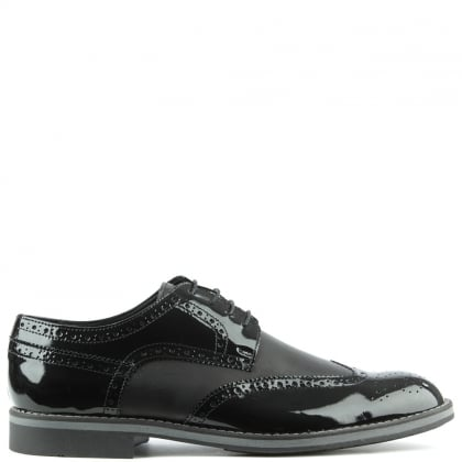 Enzo Feldini Black Patent Patent Lace Up Brogue