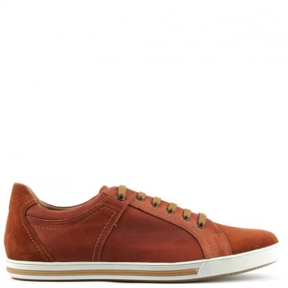 Enzo Feldini Orange Leather Suede Toe Lace Up Trainer