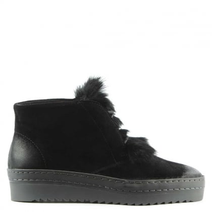 Daniel Marcia Black Suede Fur Trim Sporty Ankle Boot