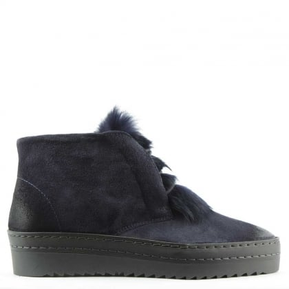 Daniel Marcia Navy Suede Fur Trim Sporty Ankle Boot
