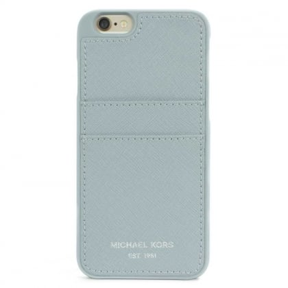 Michael Kors iPhone 6 Dusty Blue Saffiano Leather Phone & Card Case