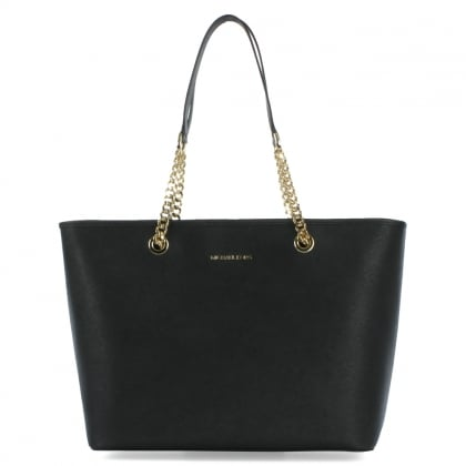 Michael Kors Jet Set Travel Black Leather Top Zip Multifunctional Tote Bag