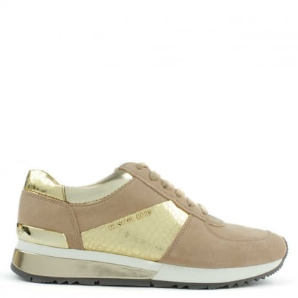 Michael Kors Allie Beige Suede & Metallic Sporty Trainer