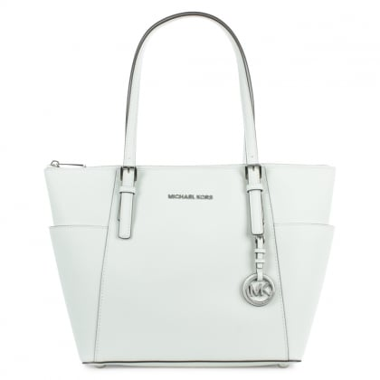 Michael Kors Jet Set Pocket White Leather Tote Bag