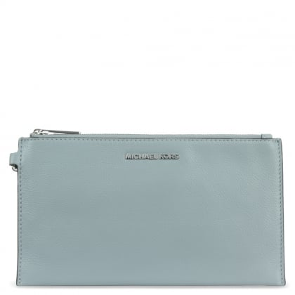 Michael Kors Bedford Large Dusty Blue Leather Top Zip Clutch