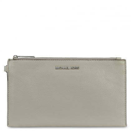 Michael Kors Bedford Large Cement Leather Top Zip Clutch