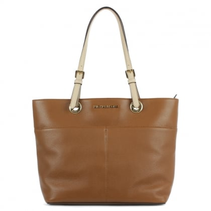 Michael Kors Bedford Luggage Leather Top Zip Pocket Tote Bag