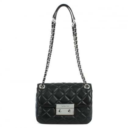 Michael Kors Sloan Quilted Small Black Leather Chain Shoulder Bag