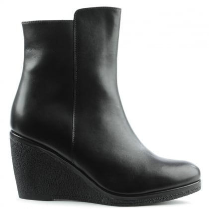 Daniel Viviana Black Leather High Wedge Ankle Boot