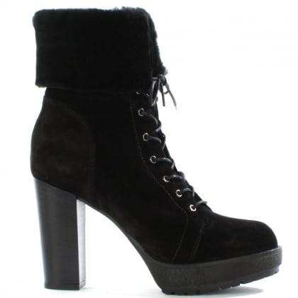 Daniel Mallory Black Suede Fur Trim Lace Up Ankle Boot