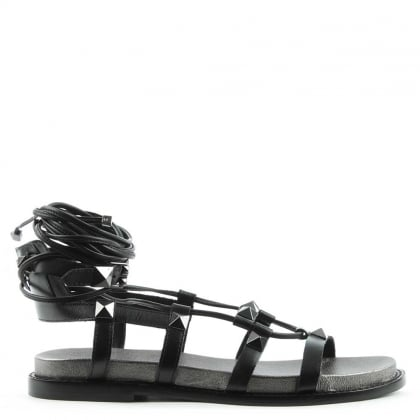Ash Magnum Black Leather Studded Gladiator Sandal