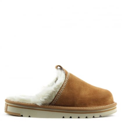 Sorel Newbie Tan Suede Fleece Lined Slipper