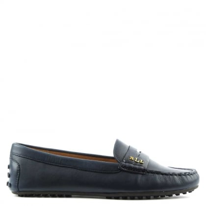 Lauren by Ralph Lauren Belen Soft Modern Navy Leather Driver Loafer
