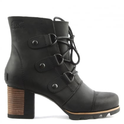 Sorel Addington Black Leather Lace Up Ankle Boot