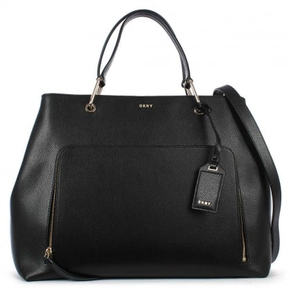 DKNY Bryant Black Leather Large Satchel Bag