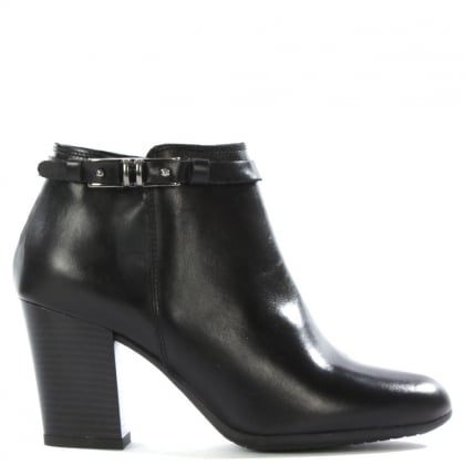 DF By Daniel Nemesia Black Leather Metal Trim Ankle Boot