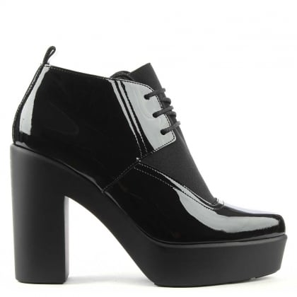 Troon Black Patent Chunky Platform Shoe