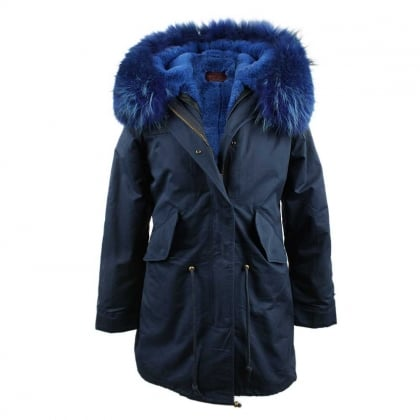 Little Red Navy Fur Lined Hooded Parka