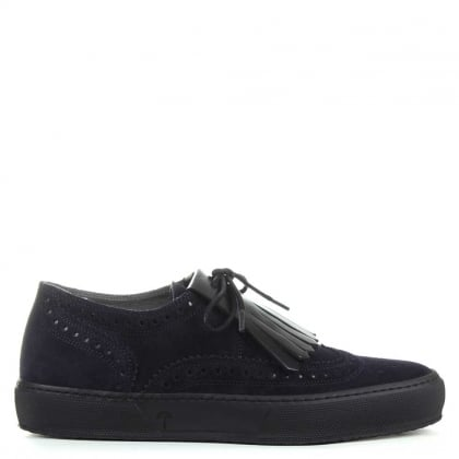 Robert Clergerie Tolka Navy Suede Fringed Brogue Trainer