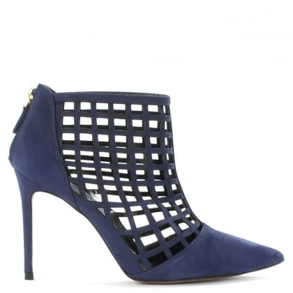 Daniel Rayne Navy Leather Caged Ankle Boot