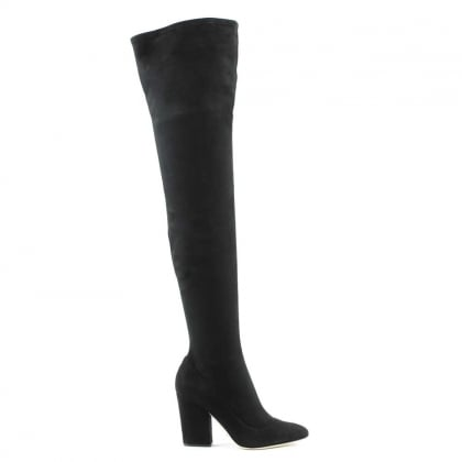 Sergio Rossi Virginia Black Suede Over The Knee Boot