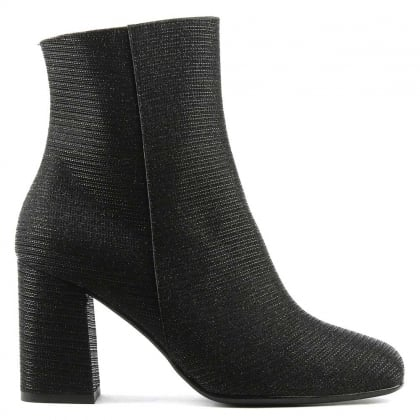 Daniel Nickie Black Metallic Mesh Square Toe Ankle Boot
