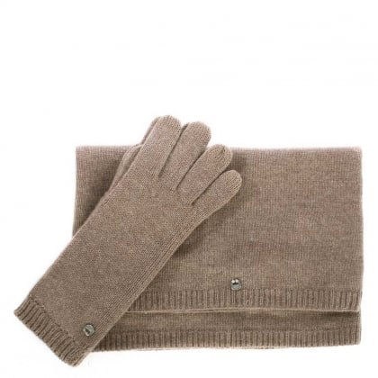 UGG Luxe Stormy Grey Heather Matching Scarf & Glove Set