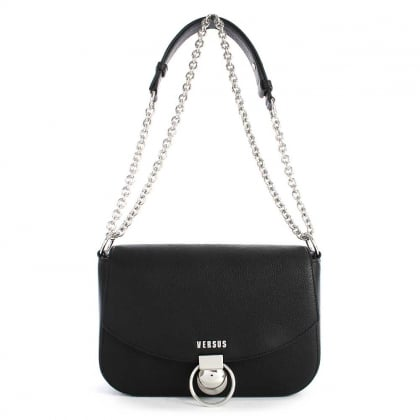 Versus Versace Plaga Black Leather Satchel Bag