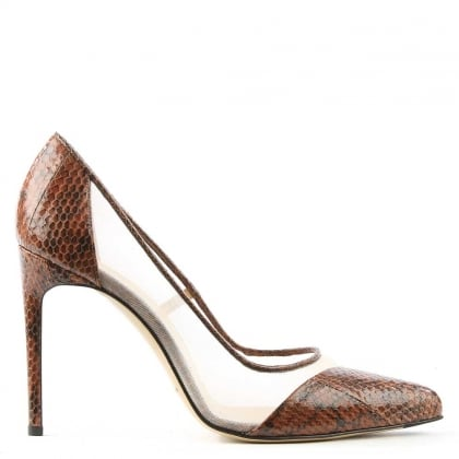 Bionda Castana Bay Brown Reptile Mesh Insert Court Shoe