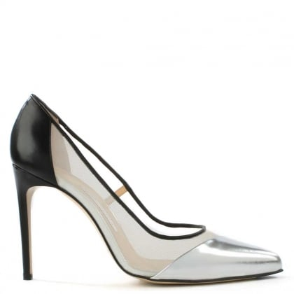 Bionda Castana Bay Silver & Black Leather Mesh Insert Court Shoe