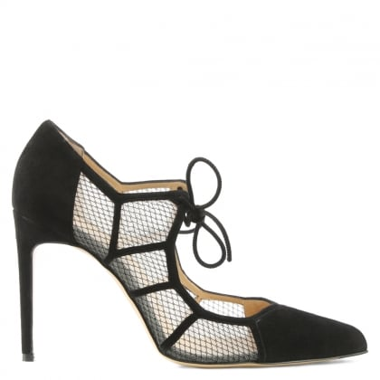 Bionda Castana Angelique Black Suede Fishnet Lace Heeled Shoe