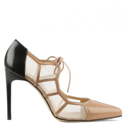 Bionda Castana Angelique Nude Leather Mesh Heeled Shoe