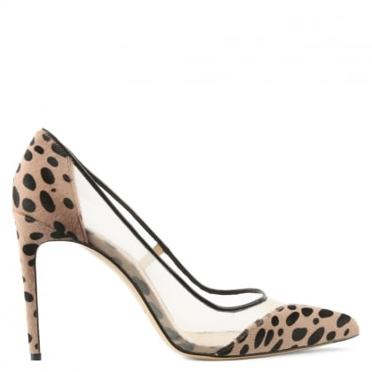 Bionda Castana Bay Leopard Calf Hair Mesh Insert Court Shoe