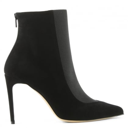 Bionda Castana Gigi Black Suede Pointed Toe Ankle Boot