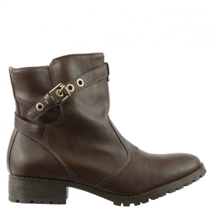 Via Uno Taupe Buckle & Strap Ankle Boot