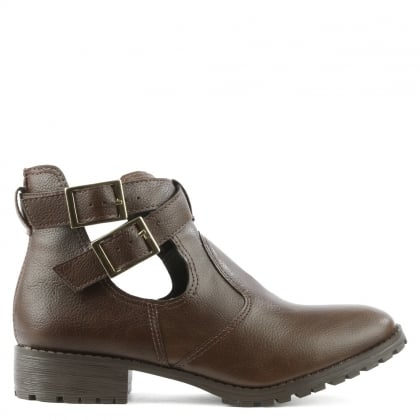 Via Uno Taupe Ankle Strap Boot