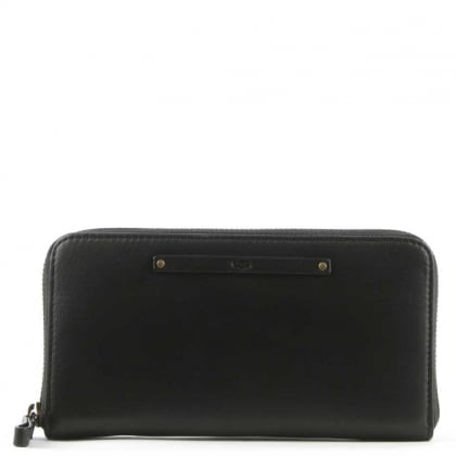 UGG Jenna Black Leather Zip Around Wallet