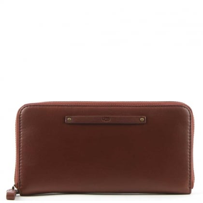 UGG Jenna Deep Mahogany Leather Zip Around Wallet