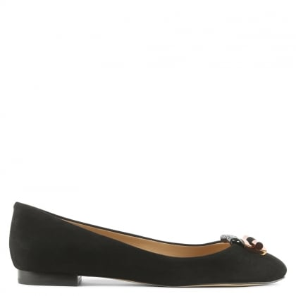Michael Kors Gloria Black Suede Ballet Pump