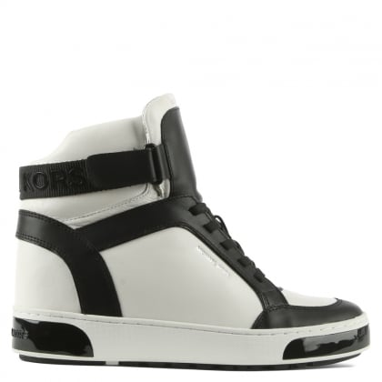 Michael Kors Pia White Leather Two Tone High Top Trainer