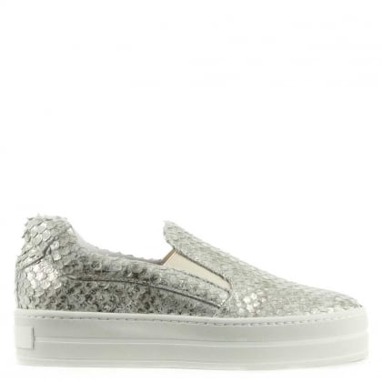 Daniel Freestone Silver Reptile Leather Flatform Trainer