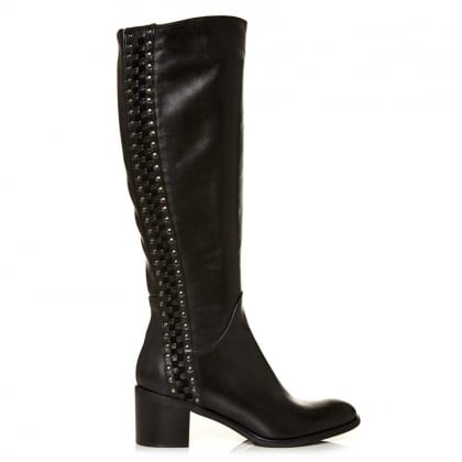 Moda In Pelle Simone Black Leather Studded Riding Boot