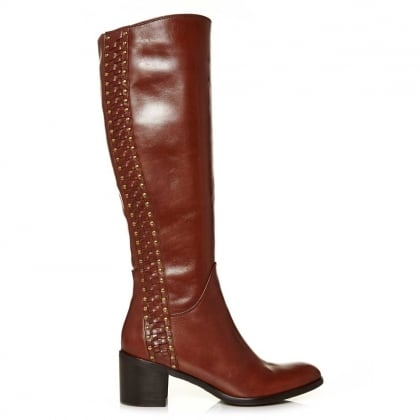 Moda In Pelle Simone Tan Leather Studded Riding Boot