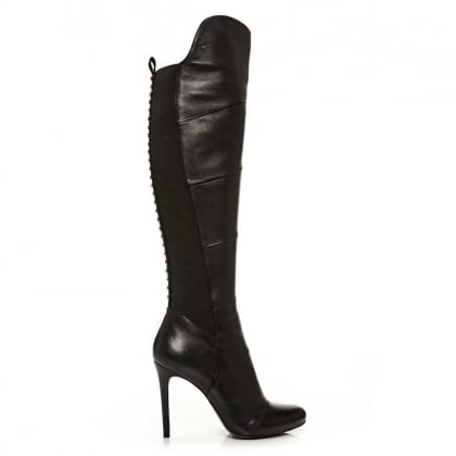Moda In Pelle Strada Black Leather Stiletto Heel Knee Boot