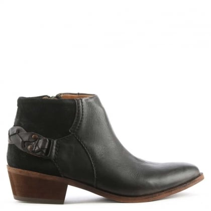 Hudson Triad Black Suede & Leather Western Ankle Boot