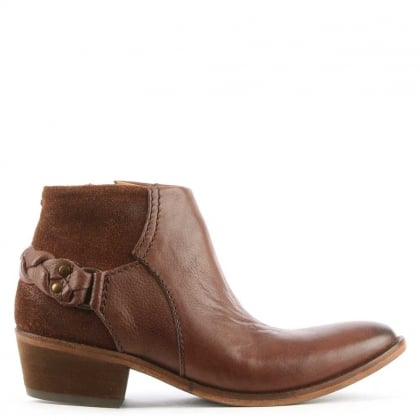 Hudson Triad Brown Suede & Leather Western Ankle Boot