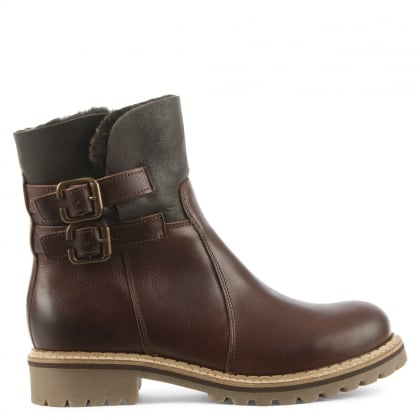 Daniel Juddi Brown Leather Shearling Cuff Ankle Boot