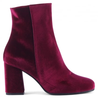 Daniel Nickie Burgundy Velvet Square Toe Ankle Boot