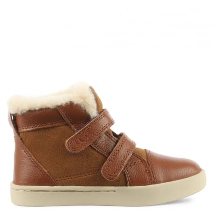 UGG Kids Rennon Chestnut Suede & Leather High Top Boot